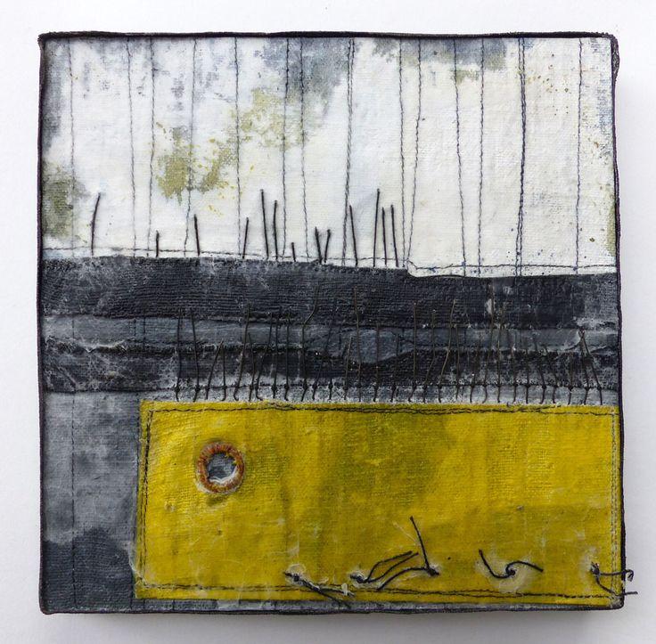 debbie lyddon Marshscape Collage #7/16, Linen, wax, 20 x 20 cms