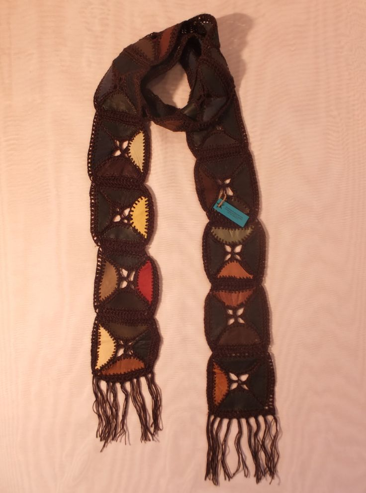 Skinny Leather Scarf / Belt / Sash / Head Wrap - Long - Crocheted Patchwork,   Native South American Indian workmanship by RezahDesignStudio on Etsy