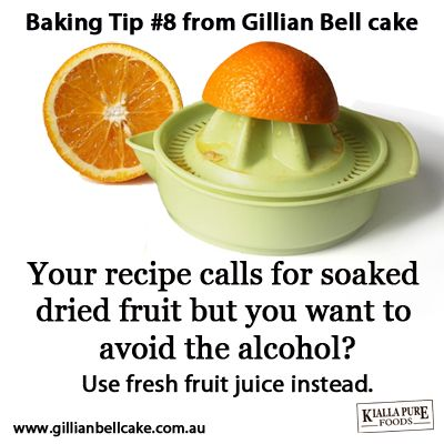Baking tip: use fruit juice instead of alcohol to soak dried fruit