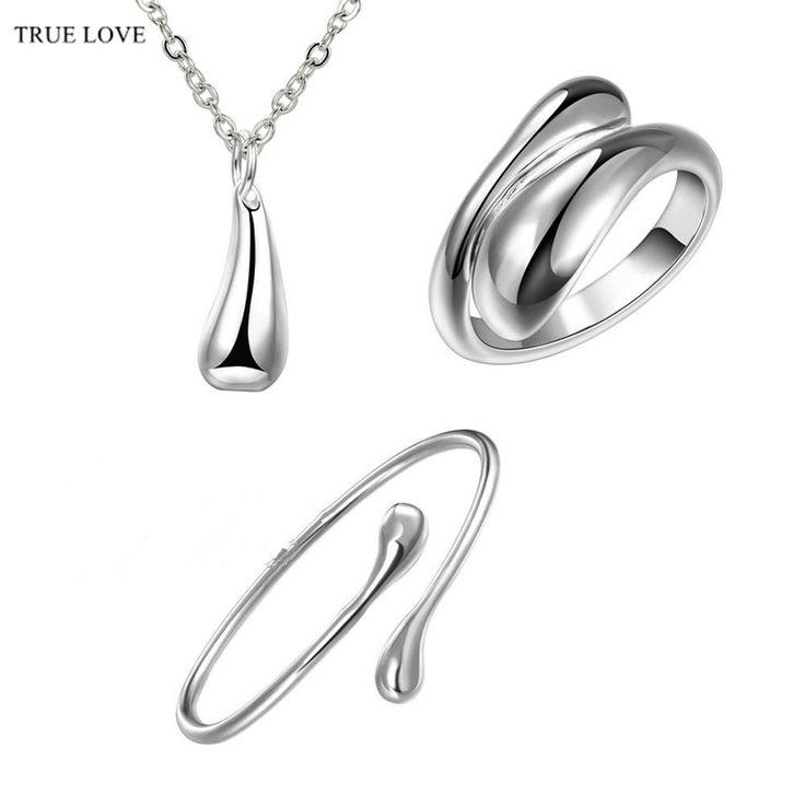 S331 серебряные ювелирные наборы water drop ожерелья браслеты кольца свадебный…