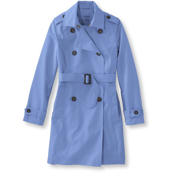 L.L.Bean Crosstown Trench Coat  Misses Petite (2.874.895 VND) ❤ liked on Polyvore featuring outerwear, coats, petite trench coat, l.l.bean, blue coat, trench coat and water resistant trench coat