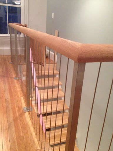 Stainless Steel Cable Interior Railing System At Second Floor Opening And  Staircase. Square Stainless Steel