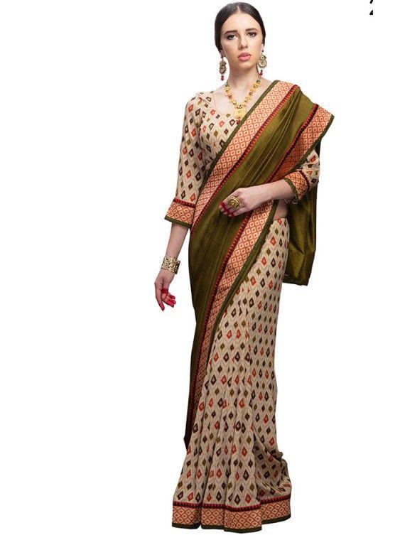 Mystical Cream and Olive Green Designer saree