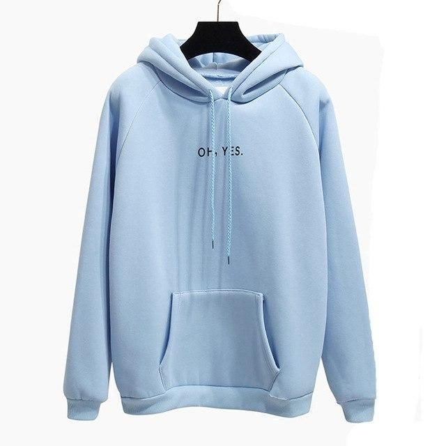 Winter Fashion yellow OH YES Long sleeve Thicken Hooded sweatshirt Woman Letter Harajuku Girl loose Pullover Tops coat Female