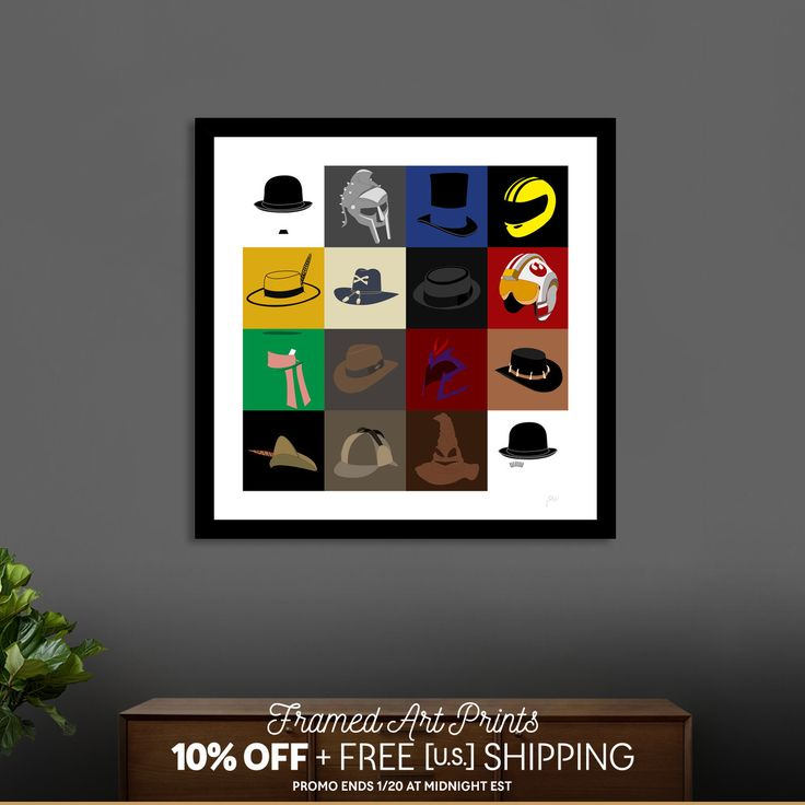 Discover «16 hats», Exclusive Edition Fine Art Print by Omar Gonzalez - From 29€ - Curioos (Charles Chaplin, Gladiator, Gangs of New York, Kill Bill, The Mask, Apocalypsis now, Breaking Bad, Star Wars, The Hatter, Indiana Jones, Magneto, Cocrodile Dundee, Robin Hood, Sherlock Holmes, The sorting hat, Clockwork Orange)