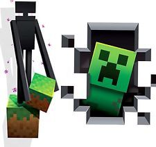Large Minecraft 3D Wall Decals Sticker Cling 1 Enderman And 1 Creeper NEW! Part 71