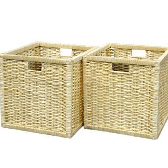 Natural Coloured Storage Baskets In A Set Of Two, Perfect For Use In  Existing Storage