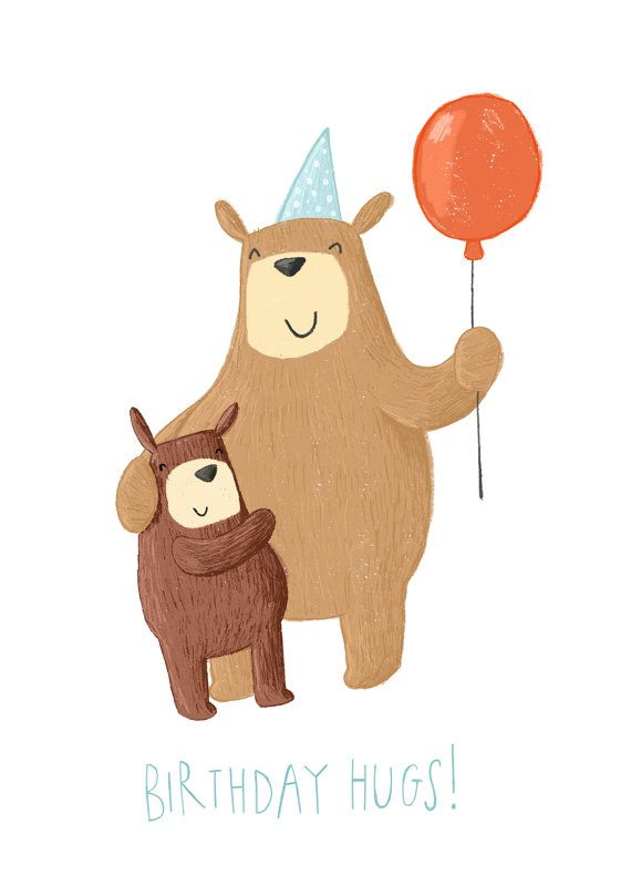 SALE Bear Birthday Hugs Greetings Card Birthday Card by beckydown