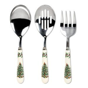 Spode Christmas Tree 3-Piece Flatware Serving Set Add this Spode set to your Spode dinner set. One 10-inchL Serving Spoon One 10-inchL Meat Fork One 10-inchL Slotted Spoon. http://theceramicchefknives.com/ceramic-tea-pots-christmas-theme-tea-pots/