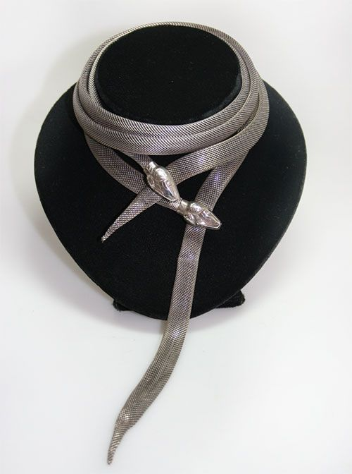 A stunning 1930's silver snake necklace which can be worn as a necklace or a belt.