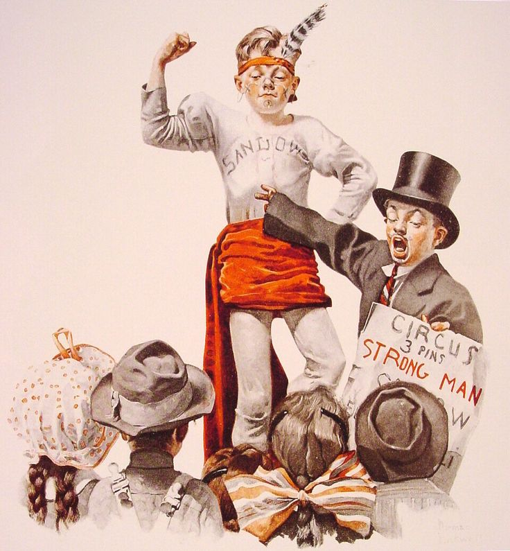 "Norman Rockwell ""The Circus Barker and the Strongman"" (1916)"