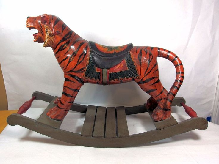 Antique Tiger Rocking Horse Hand Carved Solid Wood India ...