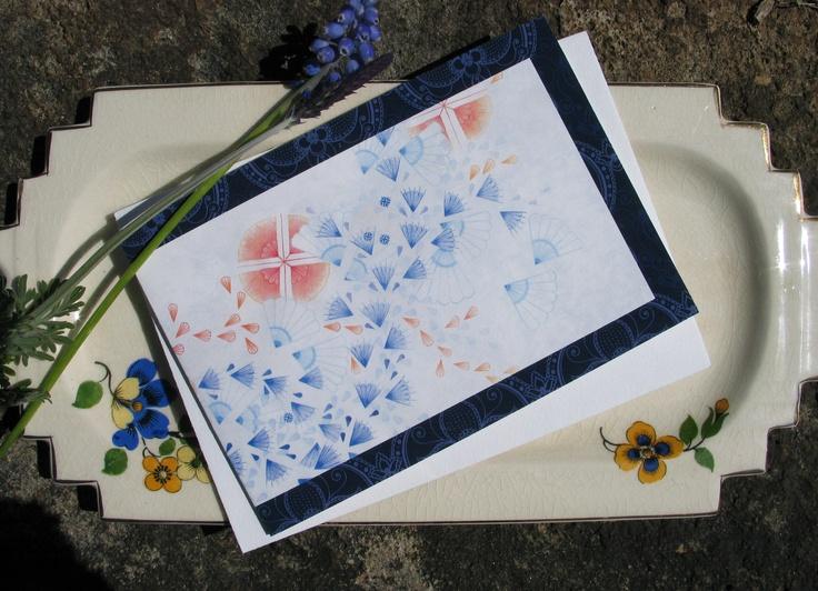 naturewrap greeting card 'Orange And Blue'   Printed on archival bamboo paper  www.emmajennings.com.au