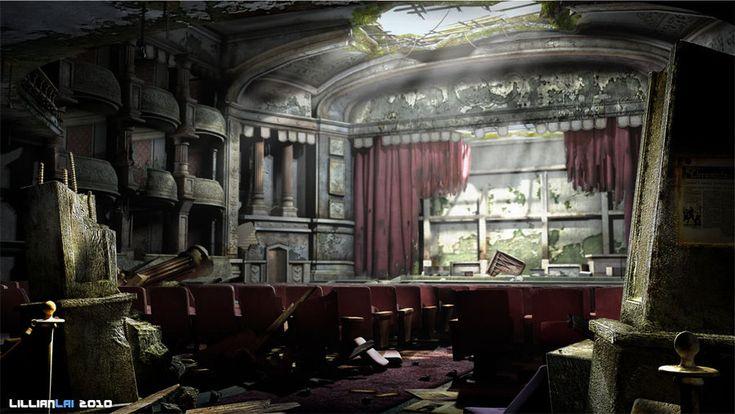 3d Abandoned Theatre By Lillianlai On Deviantart Creepy