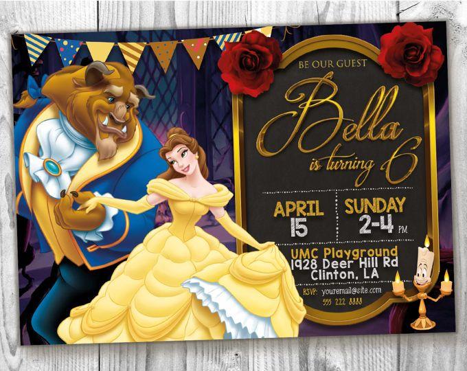Bella e la bestia invitare, 5 x 7 / 4 x 6 Principessa Belle, invito festa di compleanno di bellezza, bellezza bestia partito stampabile stampa carta