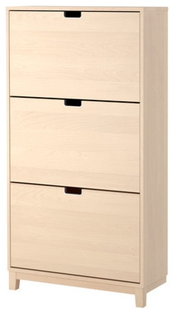 Frontgate. STÄLL Shoe cabinet with 3 compartmentsPrice: $139.00 | Visit Store »Shoe cabinet with 3 compartments, birchDouble rows in each compartment allows room for more shoes.Top panel/ Side panel/ Drawer front: Particleboard, Birch veneer, Birch veneer, Foil, Clear acrylic lacquerLeg: Solid birch, Clear acrylic lacquerInsert: Polypropylene