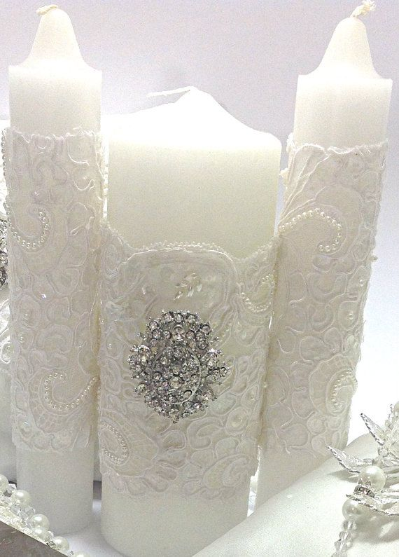 10%OFF ALL ITEMS Lace Wedding Unity Candle by AVAandCOMPANY