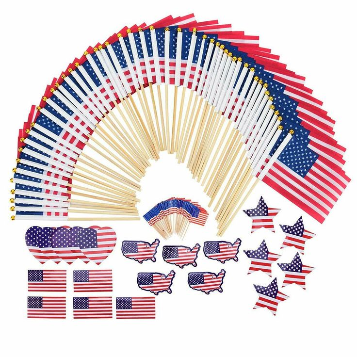Mini American Flags On Wood Sticks And Assorted Stickers