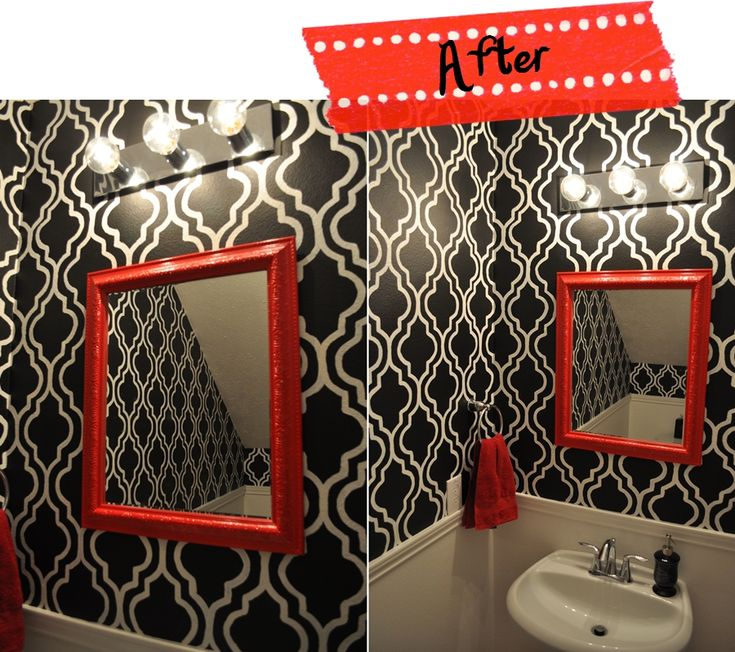 red black white stenciled wall small bathrooms decorbathroom ideasfaux