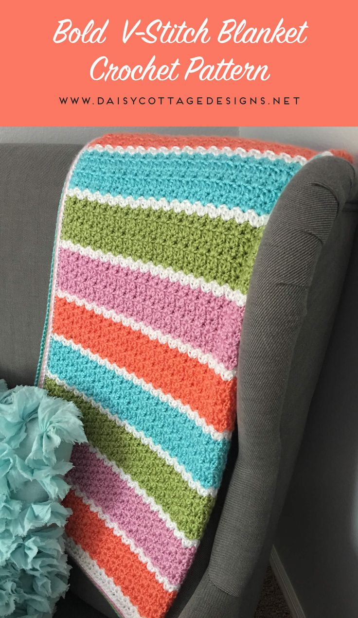 If you're looking for a free crochet blanket pattern that works up quickly, this easy v-stitch blanket from Daisy Cottage Designs is the way to go! | free crochet pattern, easy crochet blanket pattern, striped baby blanket pattern