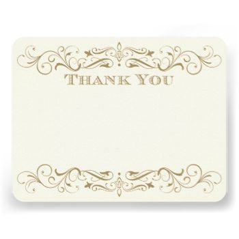 flourishes frame this elegant vintage inspired wedding thank you note ...
