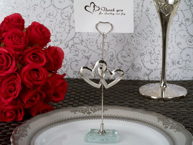 cassiani collection ch001 two hearts become one silver place card holder