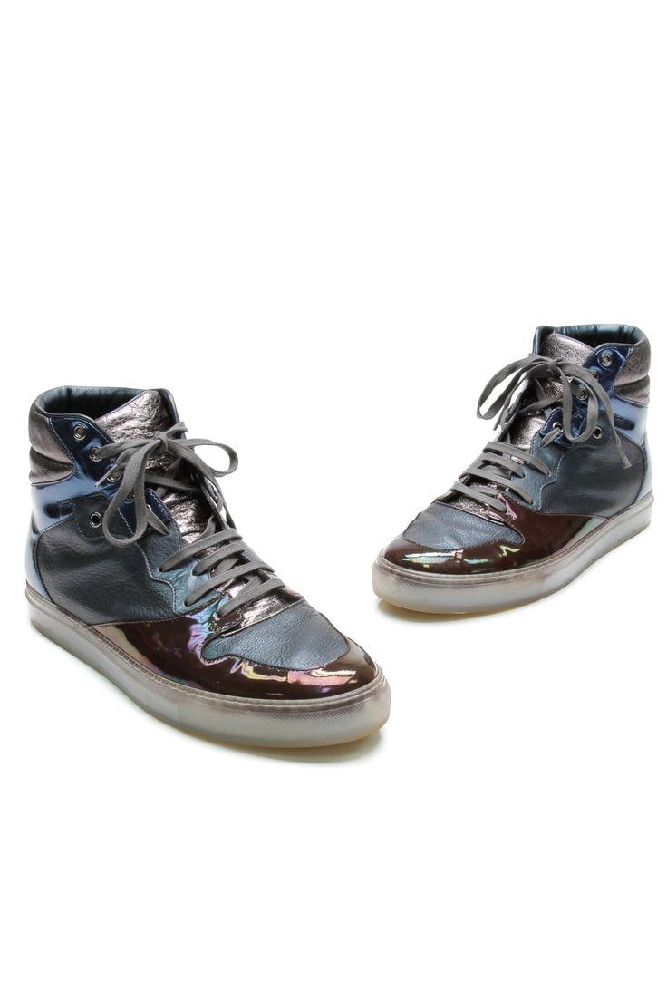 Balenciaga Metallic Blue Leather Metal Men's High-Top Sneakers