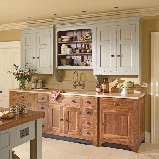 Mismatched country kitchen cabinets