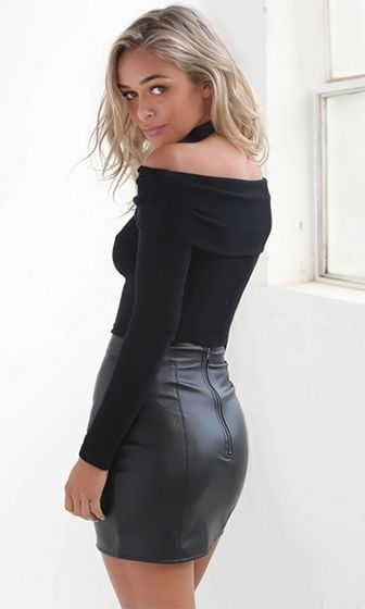 Free To Love – Black Long Sleeve Folded Out of Shoulder – Sold Out …   – LeatherLadies