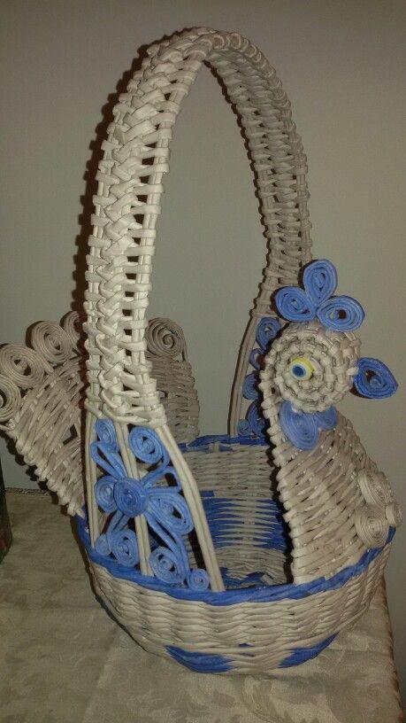 Cesto galletto bianco e blu