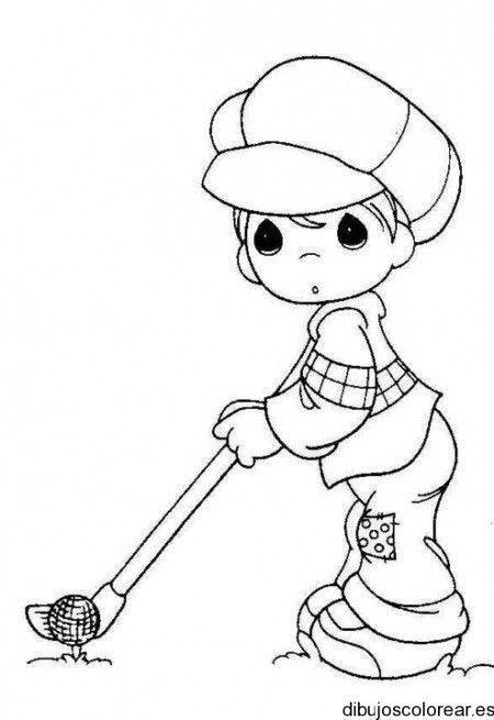 Dibujo de niño jugando golf