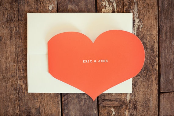 folded heart wedding invite