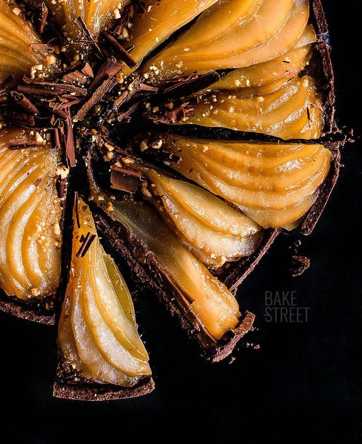 Tarta de pera y chocolate