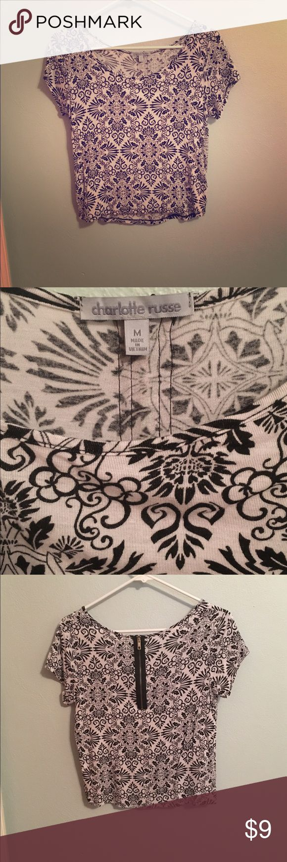 Black and White Aztec Crop Top Zip up back crop top from Charlotte Russe. Only worn once! Charlotte Russe Tops Crop Tops