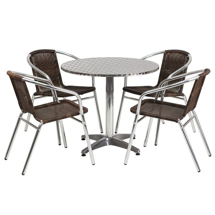 Offex 31.5 Round Aluminum (Silver) Indoor-Outdoor Table With 4 Rattan Chairs, Patio Furniture (Metal)