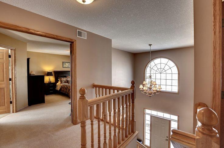 Contemporary Hallway with Carpet, flush light