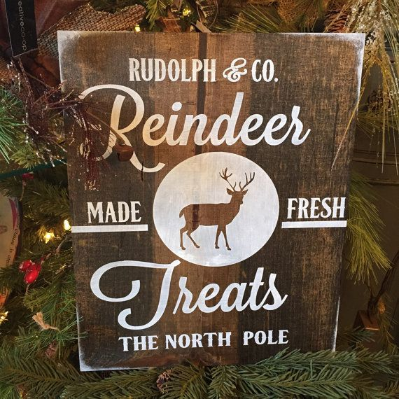 Reindeer sign, rudolph, christmas sign, holiday sign, rustic christmas decor, silent night, christmas quote, buck wood sign, deer, mistletoe