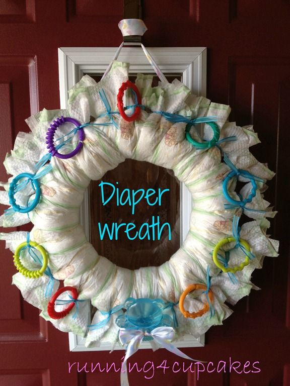 Baby shower diaper wreath - running4cupcakes | Crafts ...