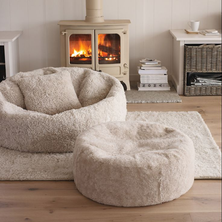 Huge, Fluffy Bean Bag Chair And Ottoman.