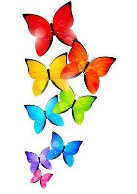 Muursticker Regenboog vlinders voor uw ontwerp