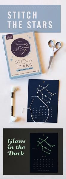 Stitch the Stars Calendar Kit - Stitch 12 months of constellations with this easy craft kit. It's a DIY that kids and adults can do. The stars and floss glow in the dark!