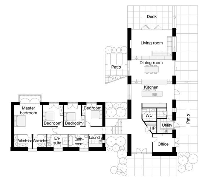 L shaped four bedroom open floor plans google search for L shaped log cabin floor plans