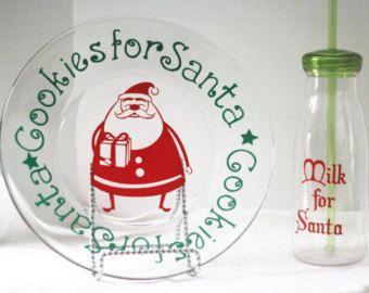 Piatto di biscotti di Babbo Natale e piastra - Santa di latte bottiglia-Santa latte bottiglia-biscotti per di Santa Plate-Santa latte e biscotti Plate-Santa