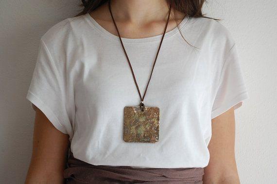 Collana in ceramica raku  Moda Ciondolo gioielli in ceramica gioielli fatti a mano regalo per donne regalo per lei oro cuoio