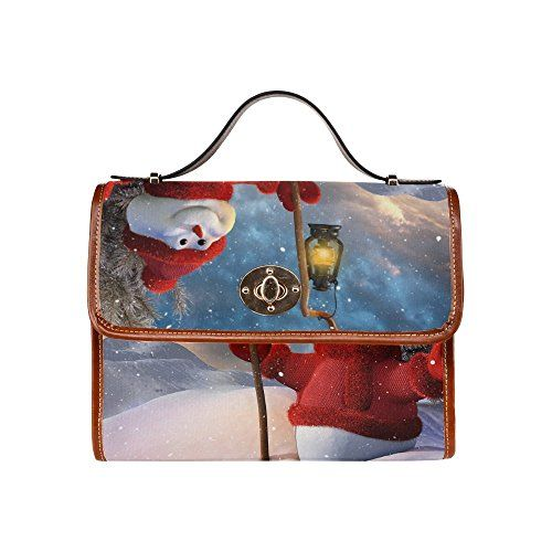 SLsenD Custom Womens Christmas Snowman Waterproof Messenger Bag Canvas Bag Clutch Bag *** You can get more details by clicking on the image.