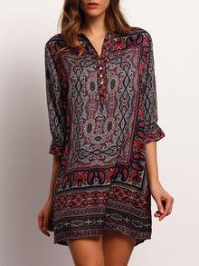 T-Shirt Kleid mit V-Ausschnitt und Stammes-Druck -mehrfarbig