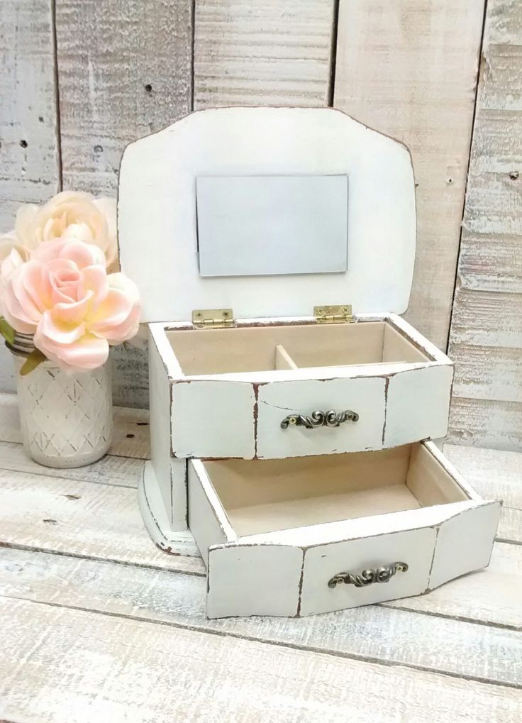 Shabby Chic Wooden Jewelry Box Painted Antique White and Distressed by ClassyKassie on Etsy
