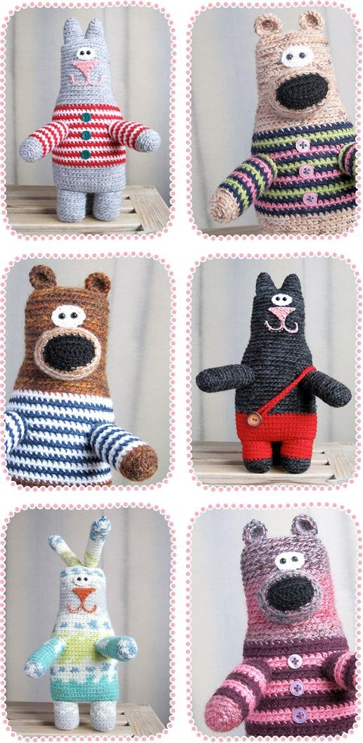 Oh my, these quirky little crocheted creations make me smile! They hail all the way from Kiev! Each one is hand-crocheted by designer Ann Zverrriki. You can find Ann's creations online at Etsy. Love.