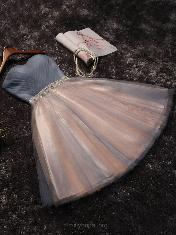 Beautiful Short Prom Dresses,A-line Sweetheart Cocktail Dress, Tulle Short/Mini Homecoming Dresses,Beading Girls Party Gowns