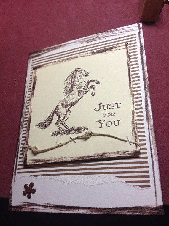Horse hand made greeting card birthday  greeting card hand stamped homemade blank inside masculine wild horse stallion